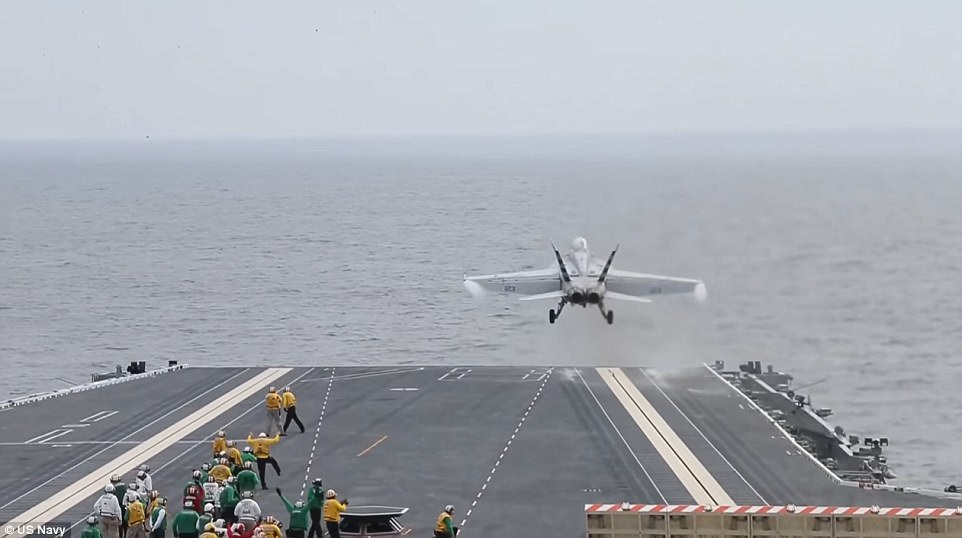 A fighter jet was shot into the sky during the first-ever launch and recovery using the U.S. Navy's new electromagnetic catapult system. Photo: US Navy