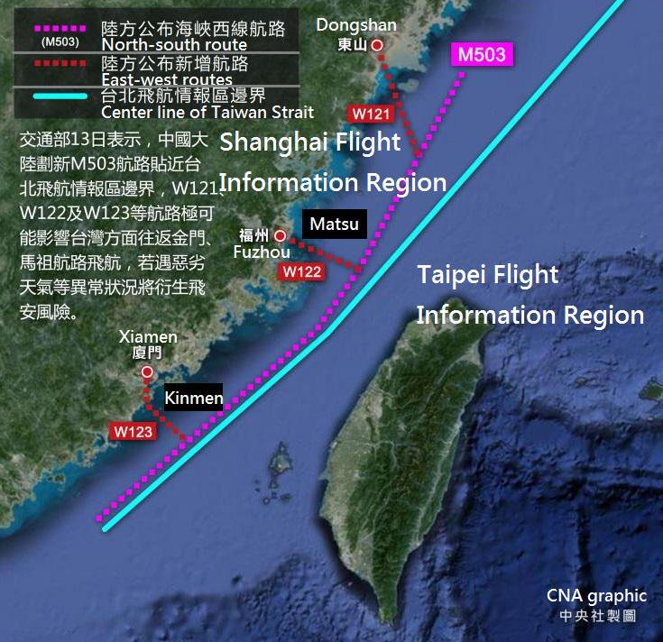 Route M503 runs almost parallel with the centerline of the Taiwan Strait, where a new unilateral two-way traffic arrangement has been made by China. Photo: Central News Agency