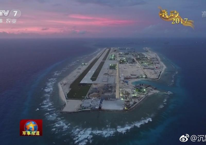 An aerial view of the Fiery Cross Reef, now a 2.8 sq km artificial island. Photo: CCTV