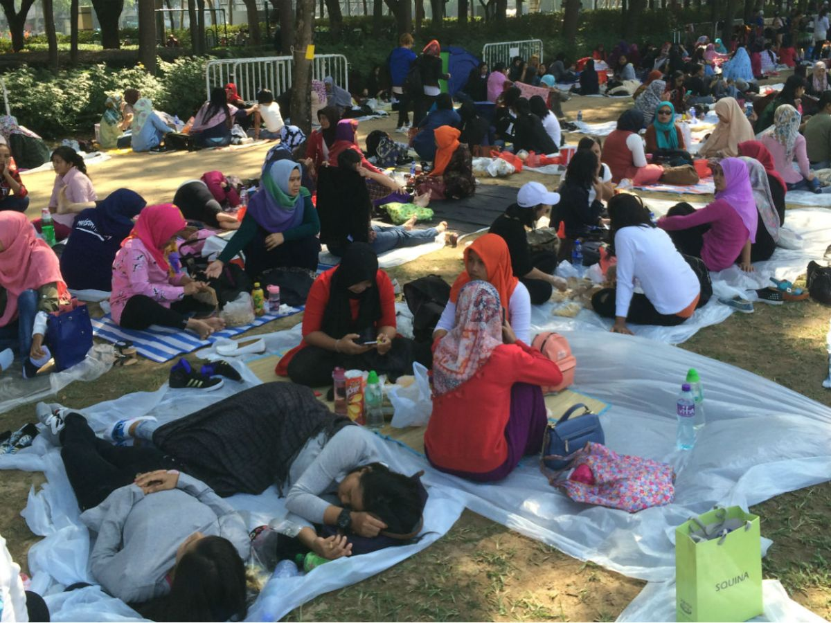 Domestic workers in Hong Kong on a day off. Photo: Asia Times