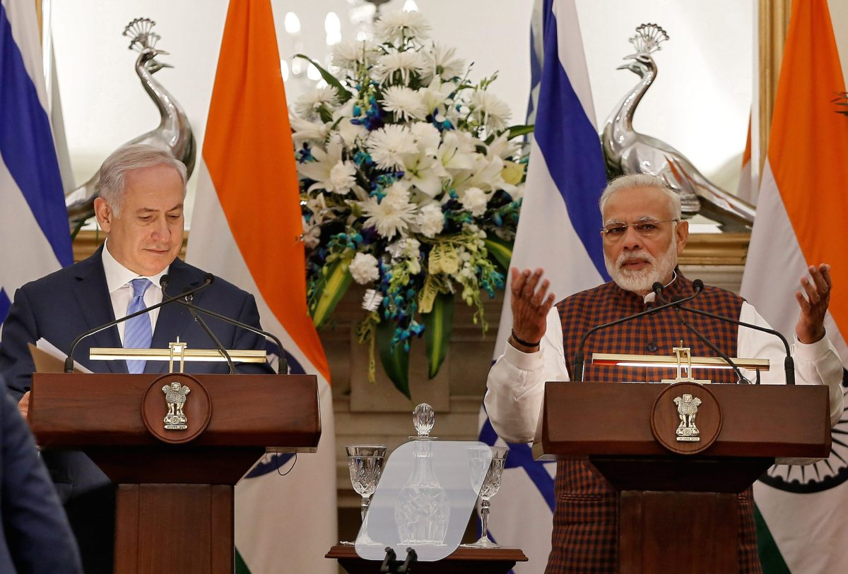 Indian Prime Minister Narendra Modi speaks as his Israeli counterpart Benjamin Netanyahu looks on during a signing ceremony at Hyderabad House in New Delhi on January 15, 2018. Photo: Reuters / Adnan Abidi