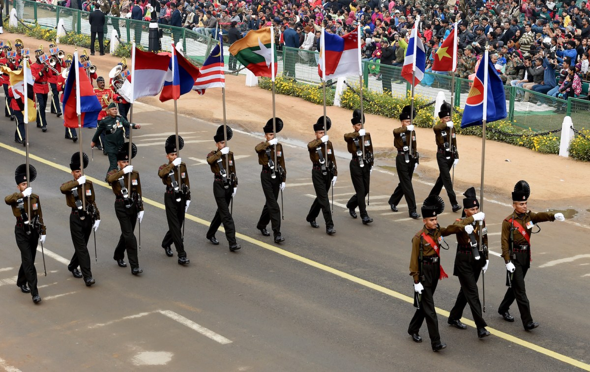 An Indian army contingent marches holding the national flags of the Asean countries during a dress rehearsal for Indian Republic Day parade in New Delhi on January 23, 2018. Photo: AFP/Money Sharma