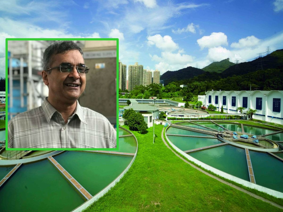 Inset: Swindar Singh.  Background: Shatin Water Treatment Works, New Territories. Photos: HK Government