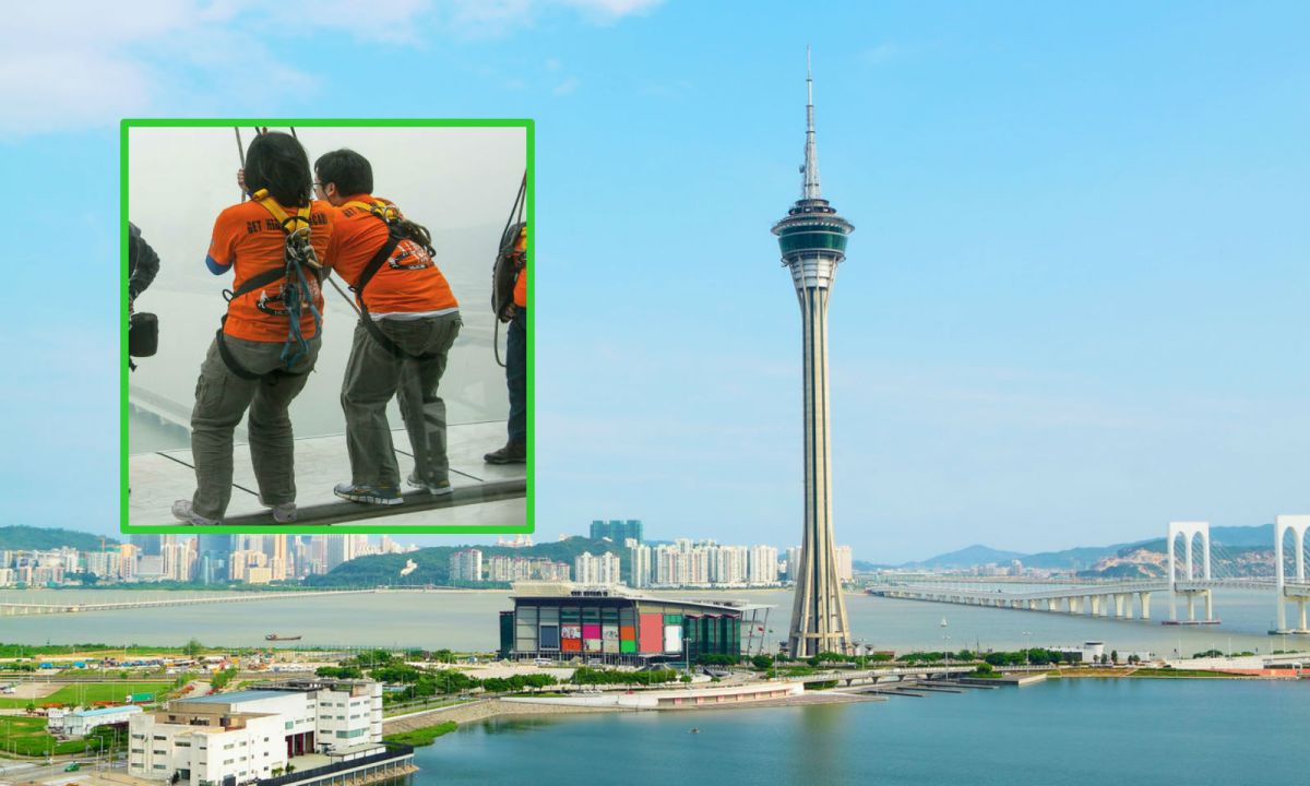 Macau Tower features the world's highest commercial bungee jump (inset). Photo: iStock