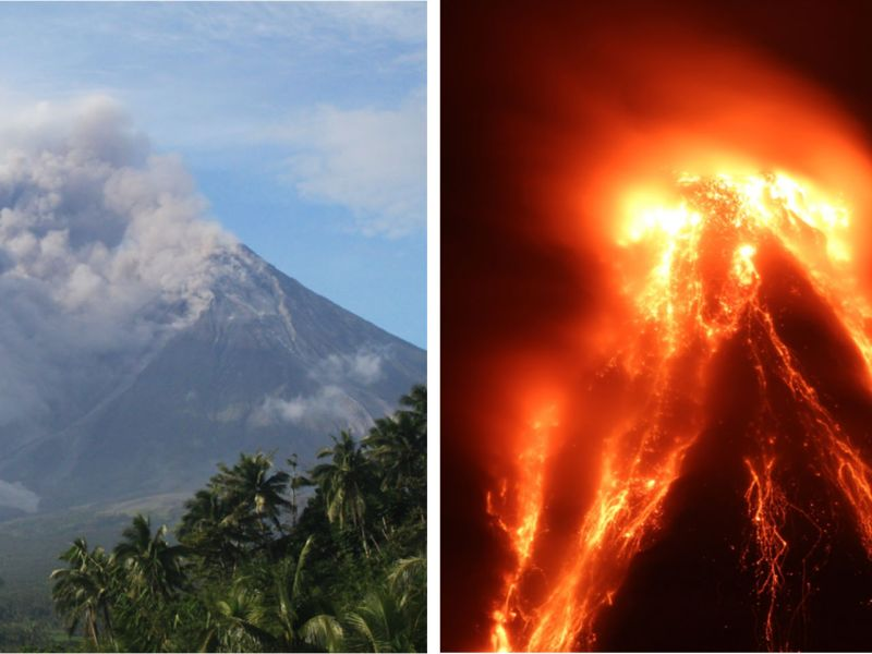 Mayon volcano began erupting ash on January 13 and has since erupted ash and lava. Photos: The Philippine Institute of Volcanology and Seismology