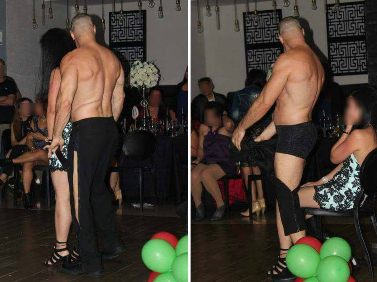 A male strip dancer was invited to perform in a Christmas party organized by three OFW groups in Tel Aviv on December 28, 2017. Photo: Niño Ruelo Barzaga