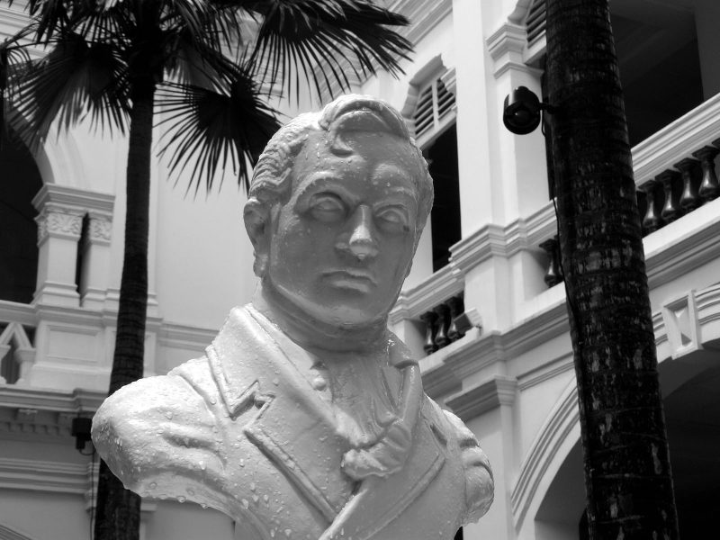 A bust at the Raffles Hotel in Singapore of Sir Stamford Raffles, by certain historical reckonings the city-state's founder. Photo: Wikimedia Commons