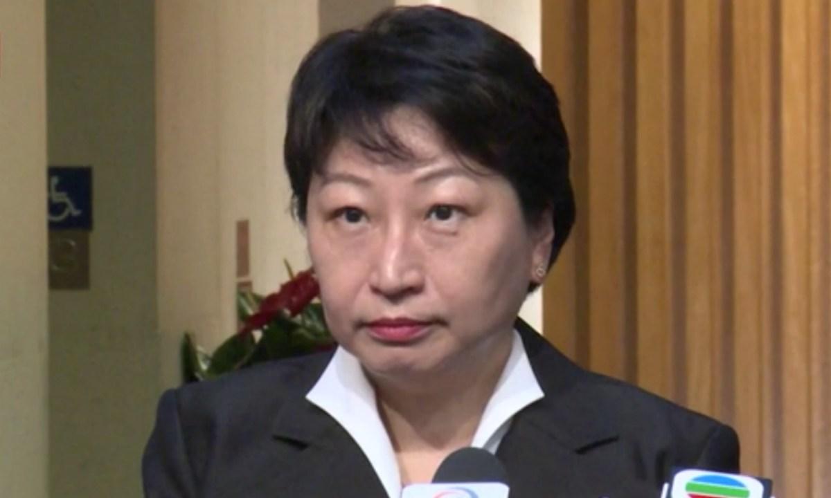 Teresa Chen Yeuk-wah, Hong Kong secretary for justice. Photo: RTHK