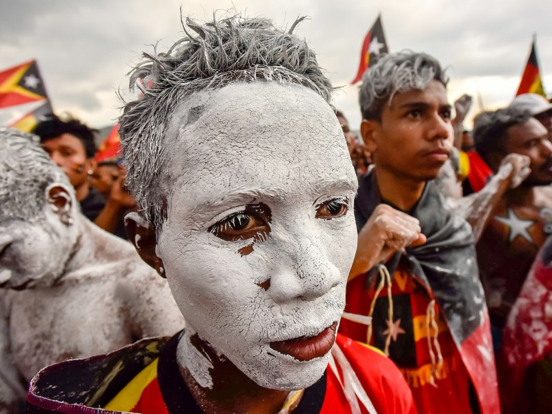 Fretilin party supporters participate in an election campaign rally in Dili, Timor Leste on July 19, 2017. Photo: AFP/Valentino Dariel Sousa