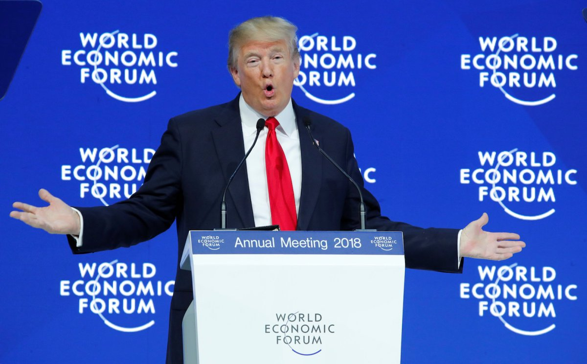 US President Donald Trump delivers a speech during the World Economic Forum annual meeting in Davos, Switzerland, on January 26, 2018. Photo: Reuters / Denis Balibouse