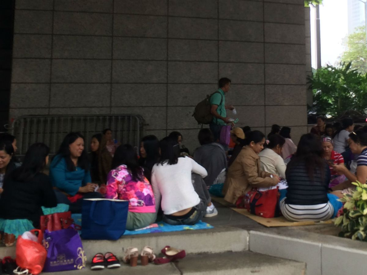 Domestic workers gather in Central on Hong Kong Island. Photo: Asia Times