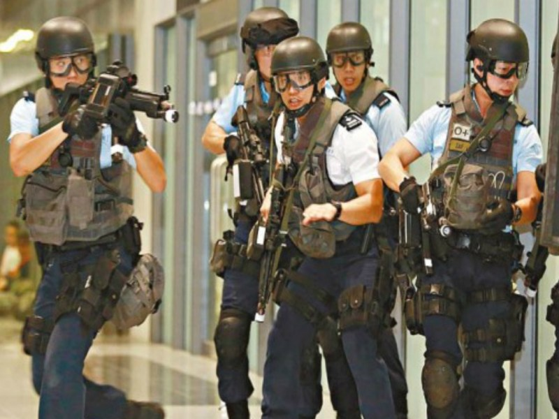Members of the Hong Kong police's elite Counter Terrorism Response Unit are seen at a recent drill. Photo: GovHK