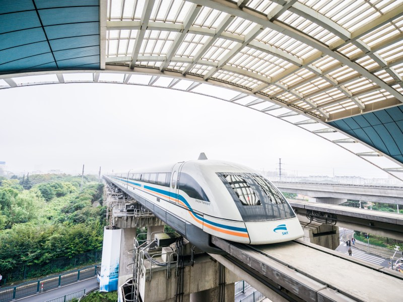 The maglev train located in Shanghai, China which can run at the speed of 268 miles per hour. Photo: iStock