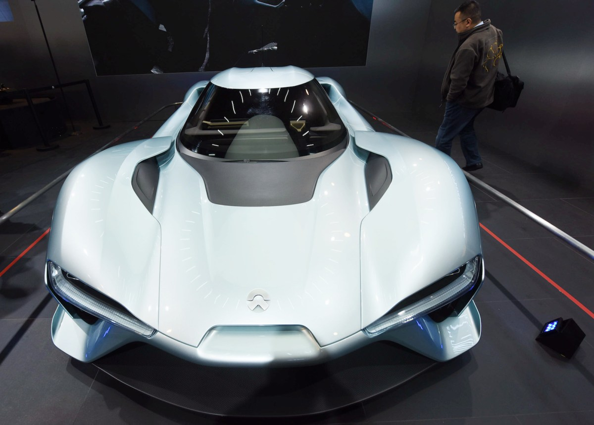 NIO rolled out its electric concept supercar, the EP9, in Hangzhou last year. But it hopes to break into the mid-range market with its ES8. Photo: AFP