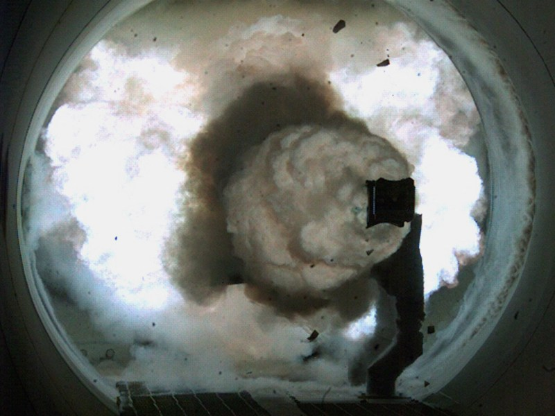 A high-speed camera image of the Office of Naval Research's Electromagnetic Railgun firing a world-record setting 33 mega-joule shot. Photo: US Navy via AFP/John F Williams