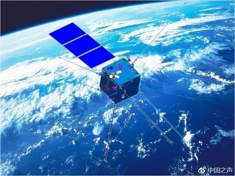 A computer-generated illustration of the 'Zhang Heng' electromagnetic test satellite in space. Photo: CNR