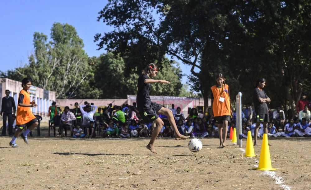 Young girls play a friendly match during soccer camp, in the village of Meeno Ka Naya Gaon in Ajmer. Photo: Rohit Jain