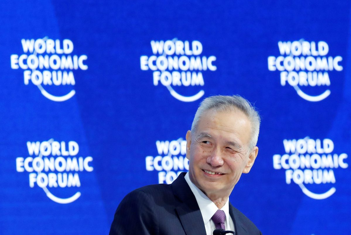 Liu He, Member of a Political Bureau of CPC Central Committee, smiles during the World Economic Forum (WEF) annual meeting in Davos, Switzerland. Photo: Reuters/Denis Balibouse
