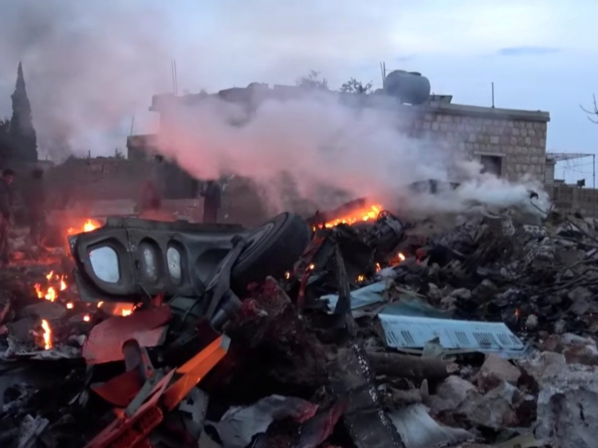 A still image obtained from social media shows the wreckage from a Russian military plane shot down by rebel forces near Idlib, Syria, on February 3. Photo via Reuters