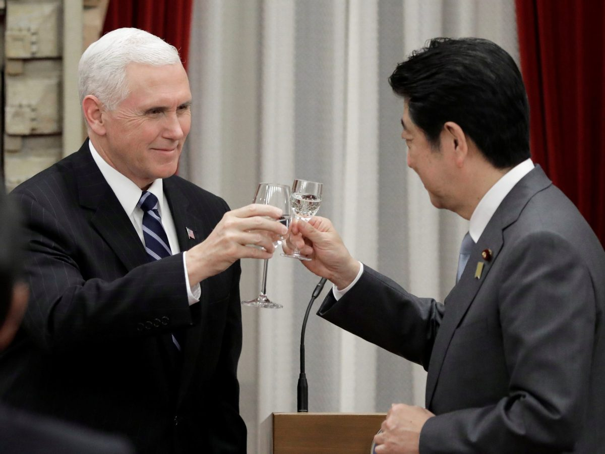 US Vice-President Mike Pence makes a toast with Japan's Prime Minister Shinzo Abe during a banquet hosted by Abe at the prime minister's official residence in Tokyo, Japan, on February 7, 2018. Photo: Reuters/Kiyoshi Ota