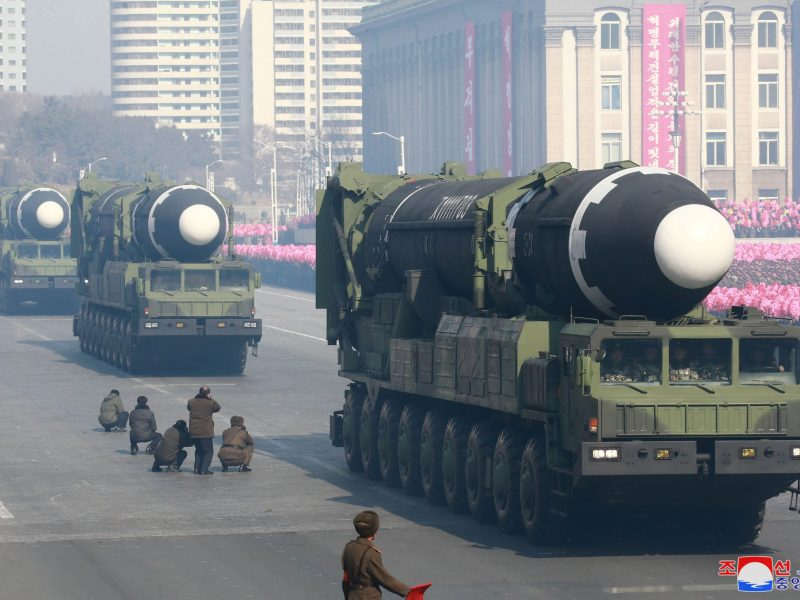 Intercontinental ballistic missiles at a military parade celebrating the 70th founding anniversary of the Korean People's Army in Pyongyang. Photo: KCNA via Reuters