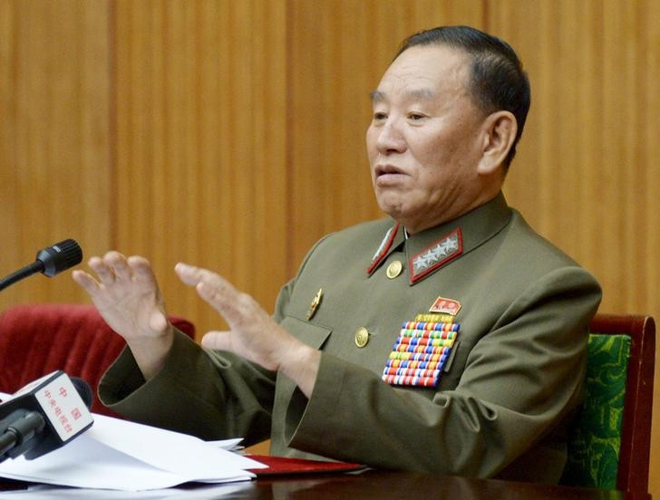 North Korea's general reconnaissance bureau head Kim Yong-chol speaks during a briefing for diplomats in Pyongyang. Kim is due to attend the closing ceremony of the 2018 Winter Olympics in South Korea. Photo: Kyodo via Reuters