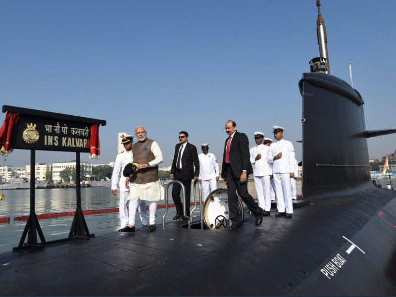 Indian Prime Minister Narendra Modi is seen on top of the Kalvari, flagship of the Scorpène series, at a launch ceremony in December 2017. Photo: Indian Navy