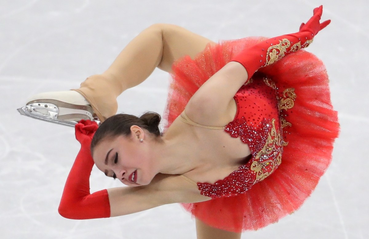 Alina Zagitova during her gold medal performance at the Gangneung Ice Arena. Photo: Reuters / Lucy Nicholson