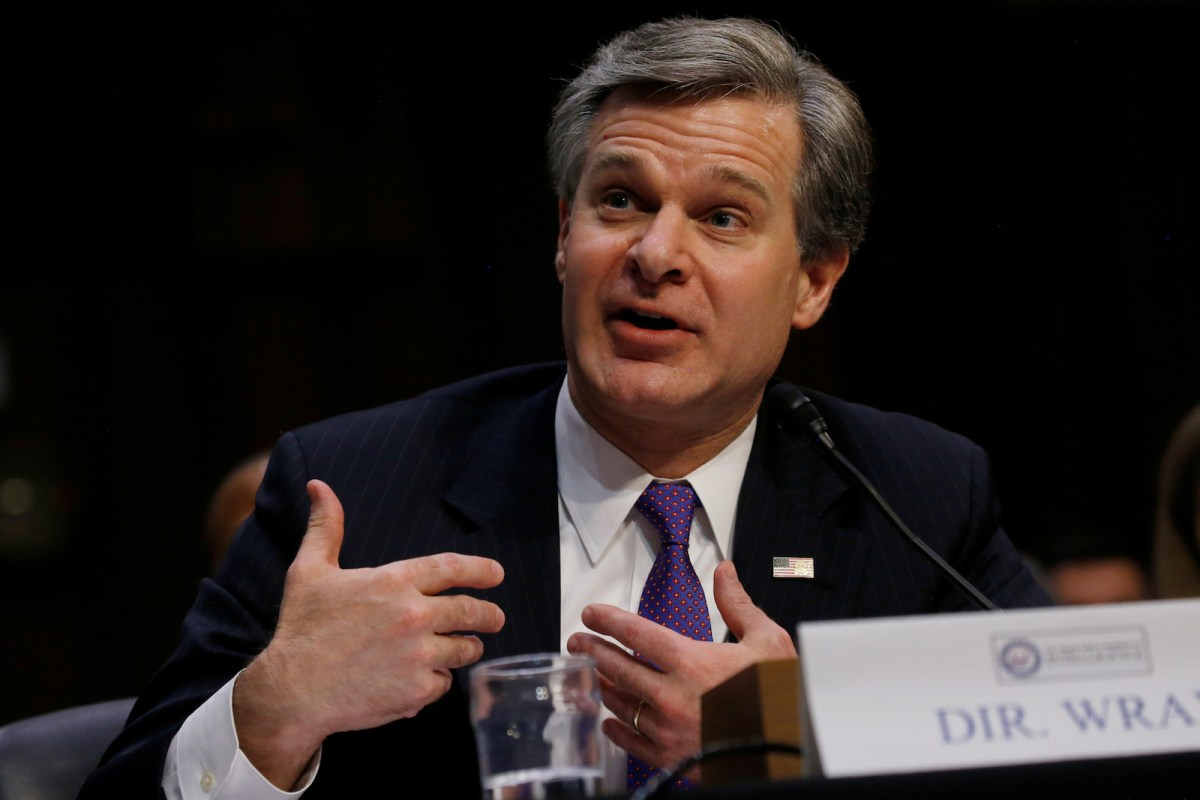 FBI Director Christopher Wray testifies during a Senate Intelligence Committee hearing. Photo: Reuters / Leah Millis