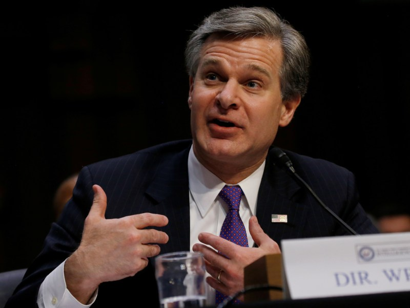 FBI Director Christopher Wray testifies during a Senate Intelligence Committee hearing. Photo: Reuters / Leah Millis