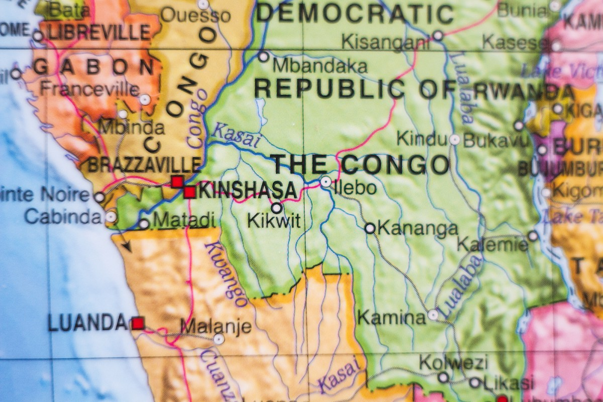 A map of the Democratic Republic of Congo. Photo: iStock