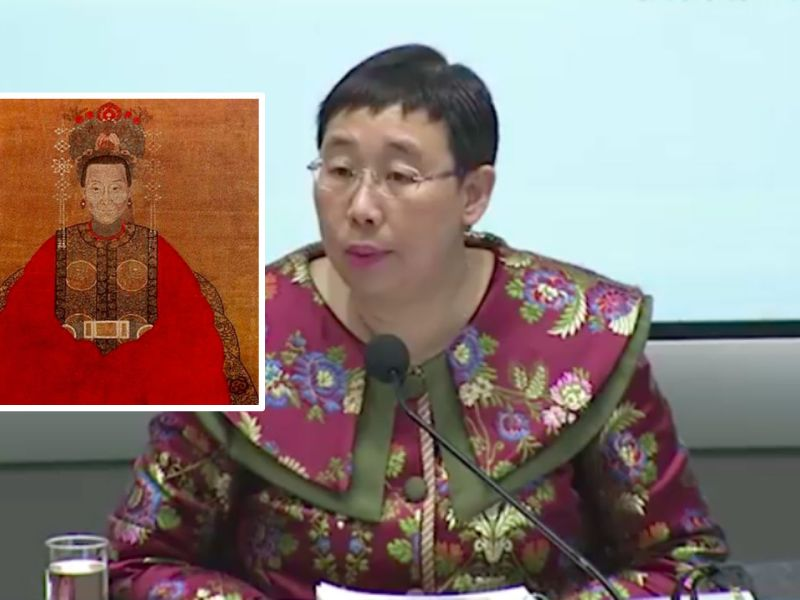 Eliza Lee Man-ching (Inset); a red robe in the Qing Dynasty. Photos: HK Government, Wikipedia