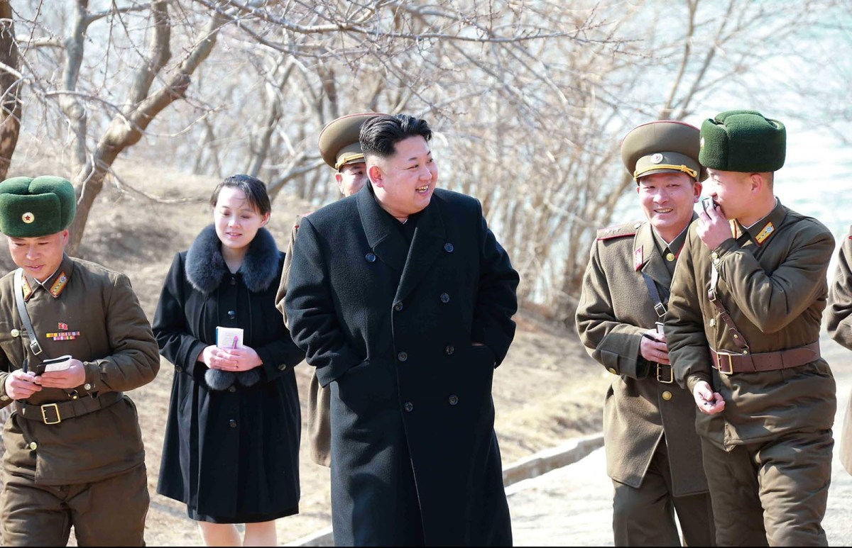 North Korean leader Kim Jong-un with his sister Kim Yo-jong (background) in Kangwon province. Photo: AFP via KCNA/KNS