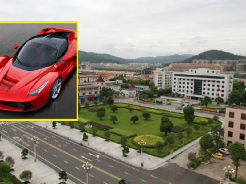 The little town of Guantangcun has lately been swamped by luxury car sales representatives. Photo: baidu.com, ferrari.com
