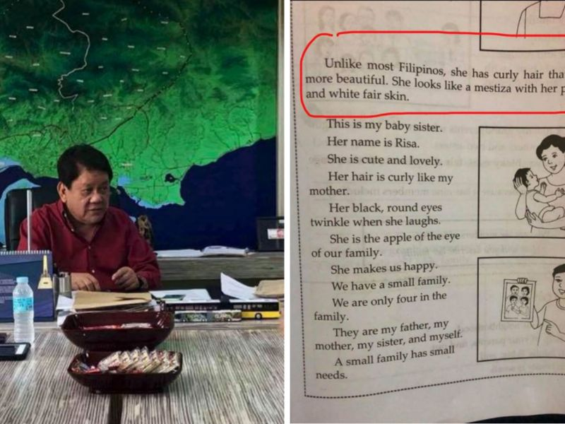 Cebu Mayor Tommy Osmeña posted a photo of a school textbook that sparked outrage online against racism. Photos: Facebook, Tommy Osmeña