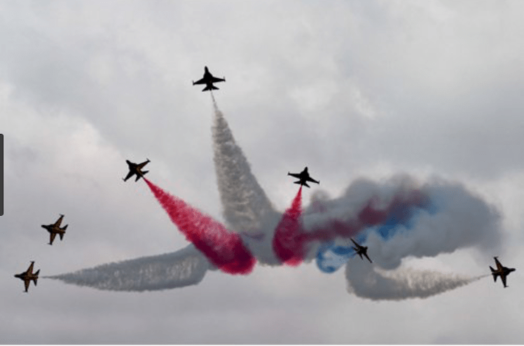 Planes of the Singaporean Air Force perform at the opening of this year's airshow. Photo: AFP