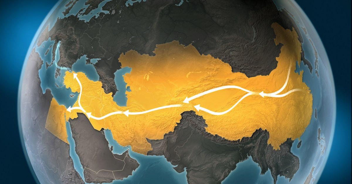 Map of the Silk Road, a network of overland routes that connected China to the Middle East and Europe through Central Asia. Illustration: iStock