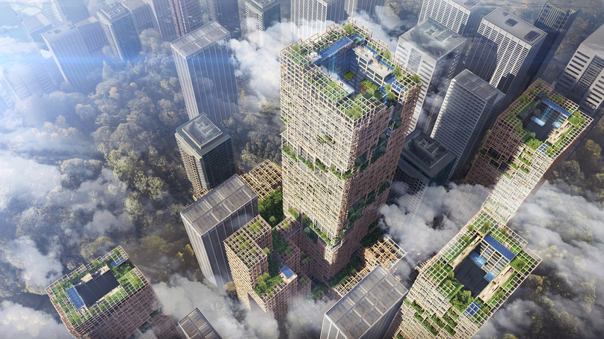 An artists impression of the planned 350-meter-high wooden skyscraper in Tokyo announced by the Sumitomo Forestry Company. Illustration: Sumitomo Forestry Company