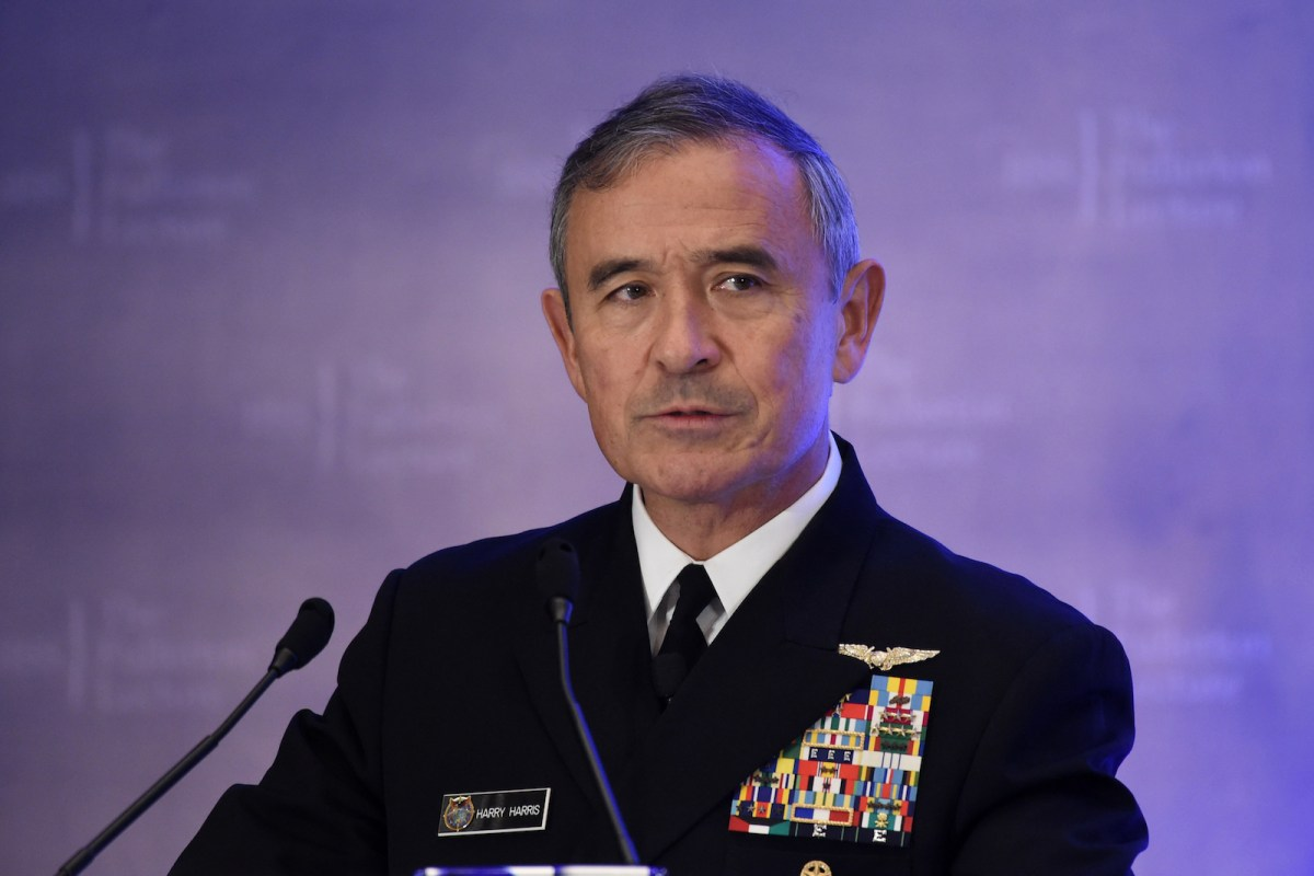 "Admiral Harry B Harris, Jr, Commander, United States Pacific Command delivers his speech on ""Challenges, Opportunities, and Innovation in the Indo-Asia-Pacific"" at the 30th International Institute for Strategic Studies (IISS) Fullerton Lecture in Singapore on October 17, 2017. / AFP PHOTO / Roslan RAHMAN"