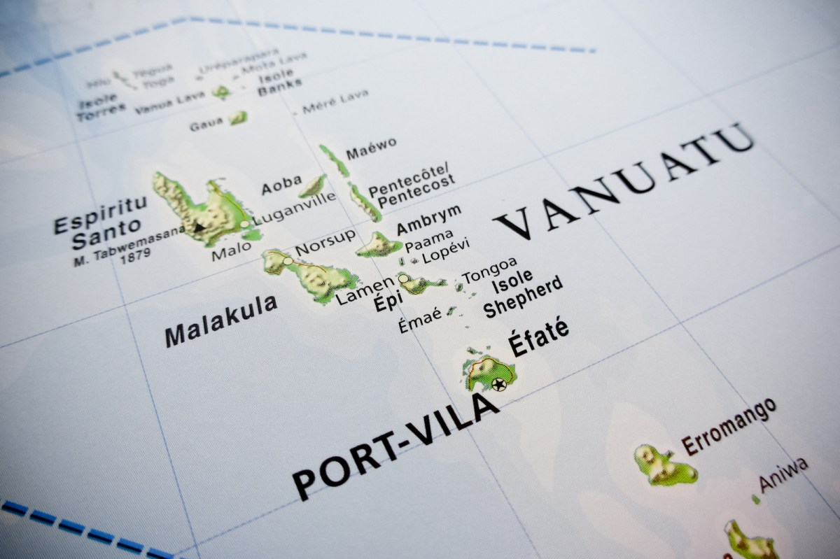 Vanuatu islands map. Photo: iStock