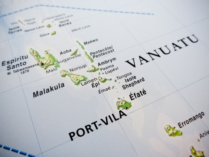 Vanuatu islands map. Photo: iStock