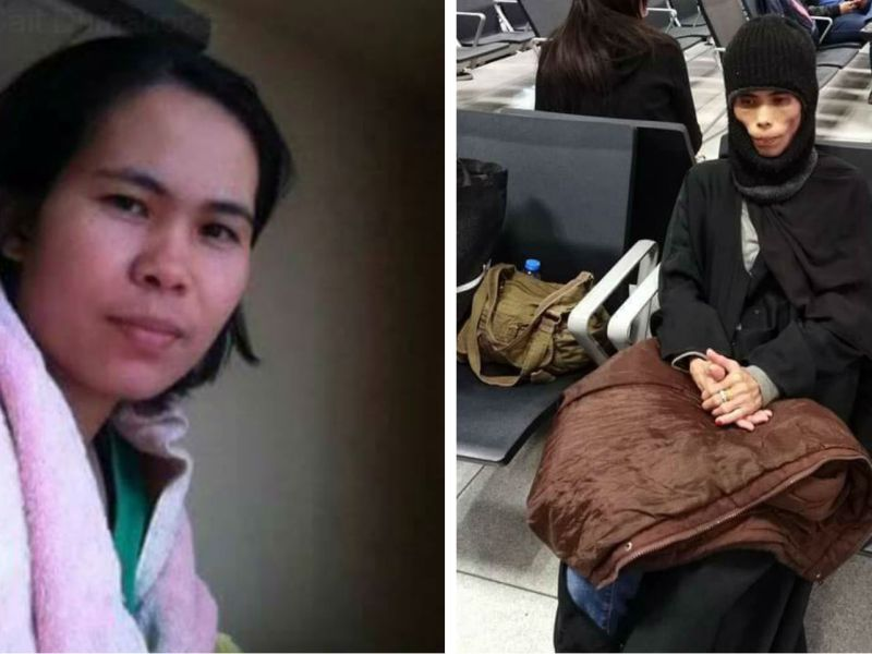 Marivic Villarejo was allegedly abused and starved by her employers in Saudia Arabia before she died. The picture on the right reportedly shows her at Riyadh airport shortly before she flew home. Photos: Facebook