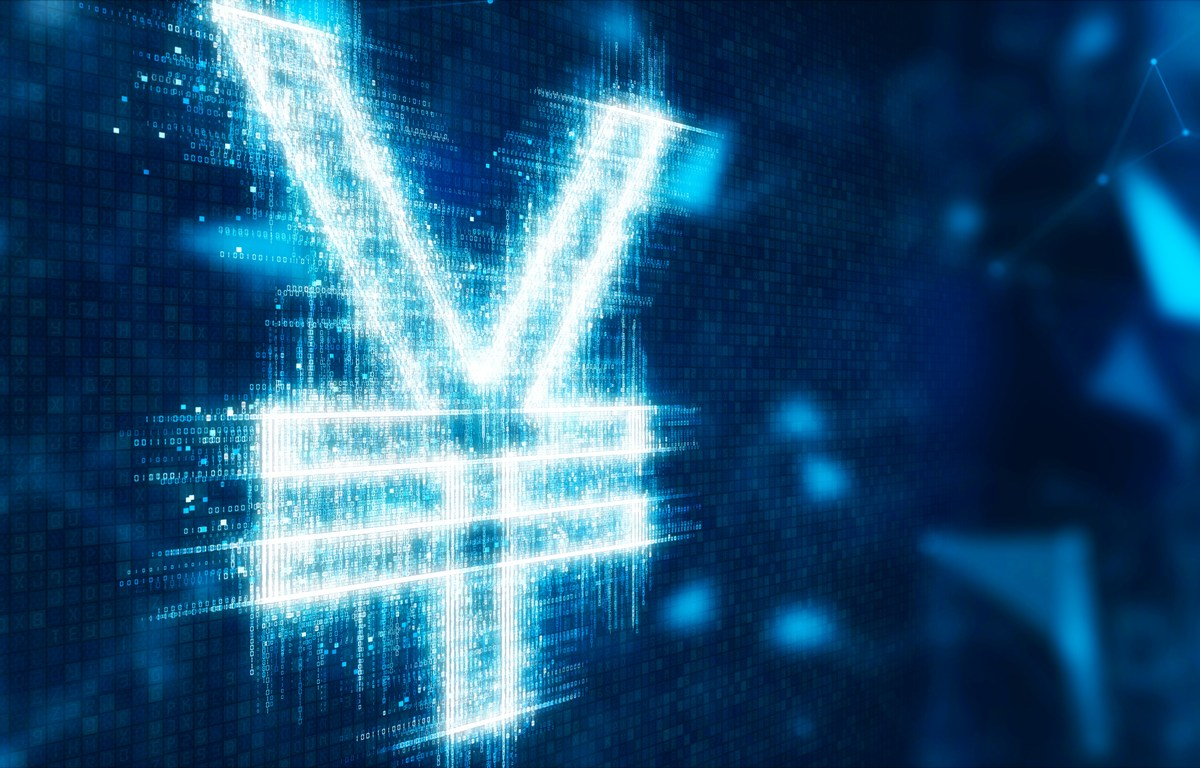3d illustration currency sign yuan on abstract futuristic network technology background. Photo: iStock