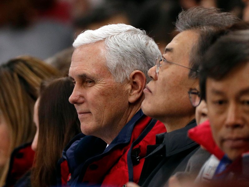 US Vice President Mike Pence and South Korea's President Moon Jae-in attend short track speed skating events at the Gangneung Ice Arena on February 10, 2018. Photo: Reuters/John Sibley
