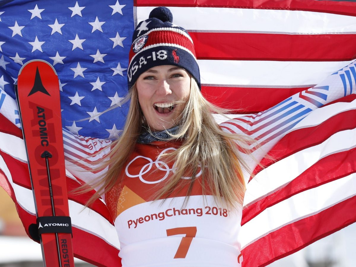 Gold medalist Mikaela Shiffrin of the US celebrates her victory in the Women's Giant Slalom. Photo: Reuters/Mike Segar