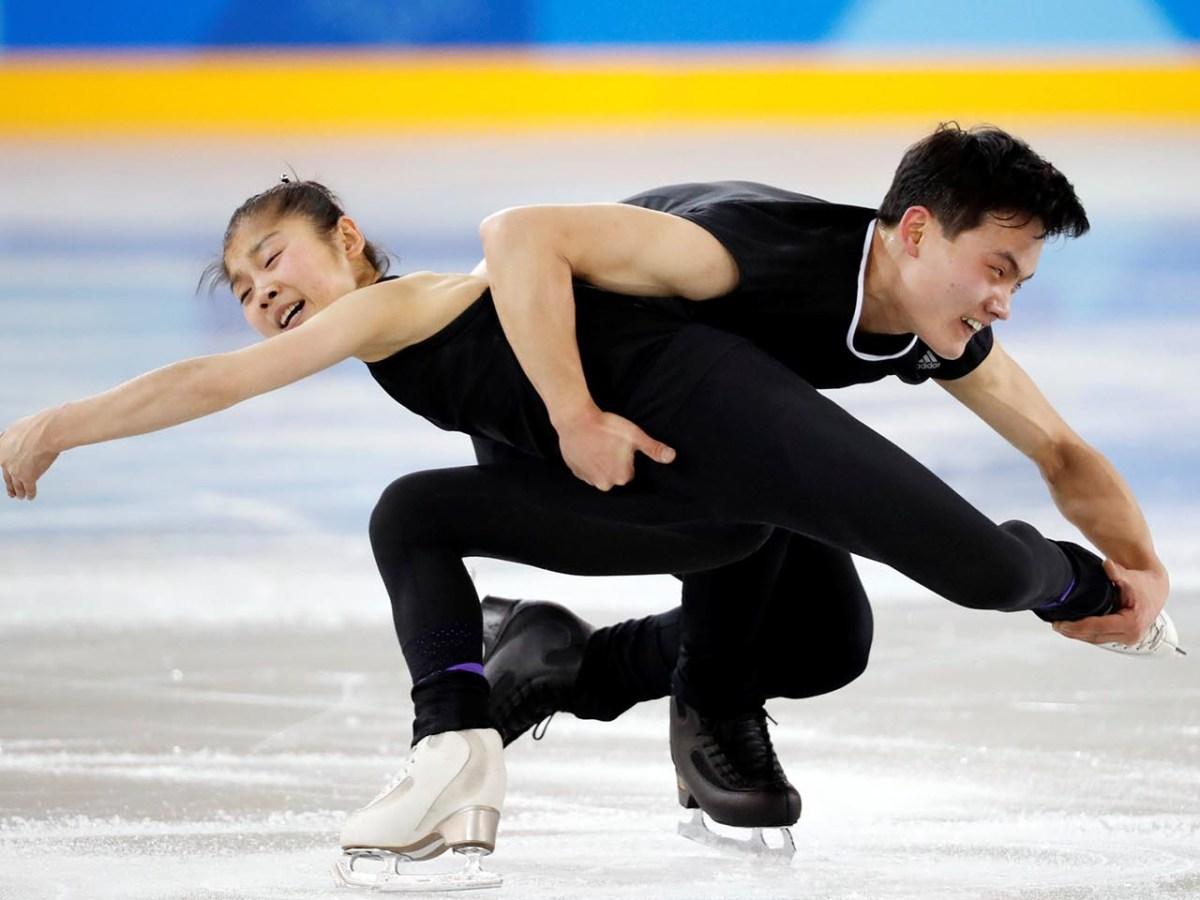 North Korean figure skaters Ryom Tae-ok and Kim Ju-sik practise their routine at the Gangneung Ice Arena. Photo: Reuters/ Kim Hong-Ji