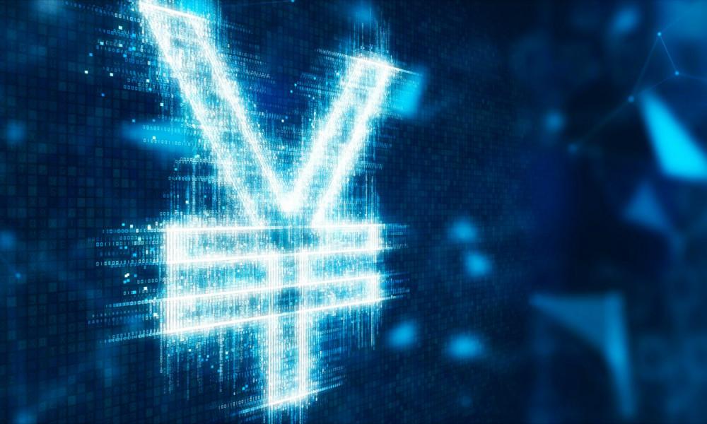 人民币符号的3D插图配上抽象的未来派网络技术背景。相片:iStock