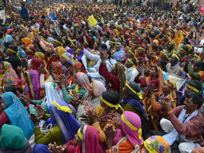 Indian women from the 'Dalit' caste shout slogans during a Dalit Dignity Rally in December 2013. Photo: AFP / Raveendran