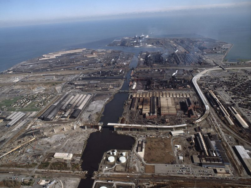 Aerial view of steel mills in Indiana Harbor on Michigan lake near Gary, USA. Photo via AFP/Ricciarini