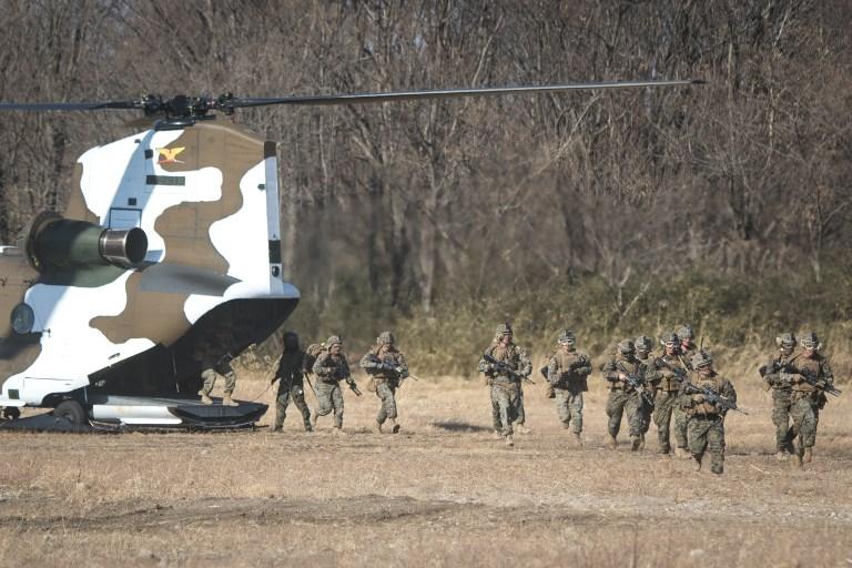 Japan's Ground Self Defense Force and the US Marines take part in a training exercise. Photo: Anadolu Agency via AFP/Richard Atrero de Guzman